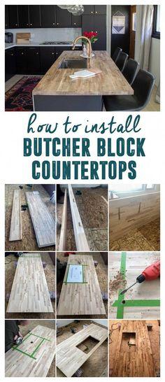 How to Install DIY Butcher Block Countertops with undermount sink, How to build . How to Install DIY Butcher Block Countertops with undermount sink, How to build . How to Install DIY Butcher Block Cou.
