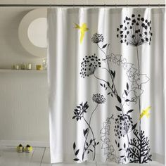 Like the little yellow in the black and white. More >>> http://bathroom-designideas.com/bathroom-shower-curtain/