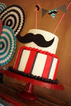 Cake at mustache bash birthday party #cake #Mustachebash #party