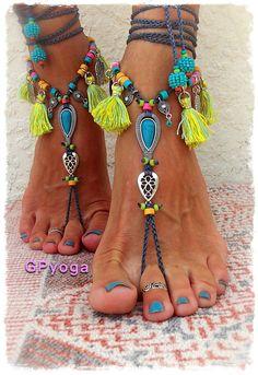 IBIZA Summer BAREFOOT Sandals Neon Tassel jewellery TURQUOISE