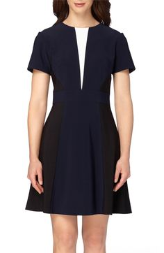 Main Image - Tahari Colorblock Fit & Flare Dress (Regular & Petite)