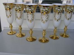 2 WEDDING  UNIQUE  LUXURY  BOHEMIAN CZECH GLASS GOBLETS-07