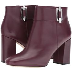 MICHAEL Michael Kors Gloria Bootie (Plum Smooth Calf) Women's Boots ($255) ❤ liked on Polyvore featuring shoes, boots, ankle booties, mid-calf boots, side zip boots, michael michael kors booties, block heel bootie, wrap boots and square toe boots