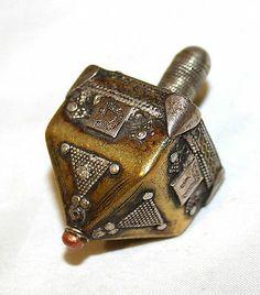 Turkmen Antique Judaica Dreidel Sevivon Sterling Silver Turkmenistan 1940s