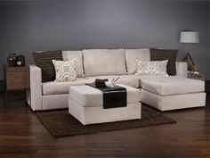 Love Sac-Four Cushion Chaise Sactional and Ottoman with Tan Herring suede Covers. I cannot wait until we can afford these. So versatile and amazing. Pulls apart and can be reattached in tons of different ways for any room in the house and any layout.
