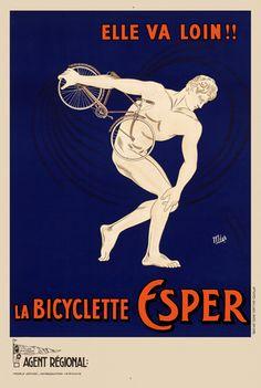 La Bicyclette Esper Vintage Bicycle Poster