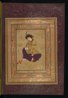 Album of Persian miniatures and calligraphy, Seated woman with pomegranates, Walters Manuscript W.671, fol.7b