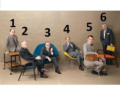 Designers: Nelson, Wormley, Saarinen, Bertoia, Eames, Risom. Playboy magazine July issue of 1961, via Modernica