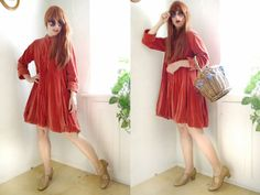 vINTAGE+vELVET+Jacket+coat+Dress+copper+red+by+SuitcaseInBerlin