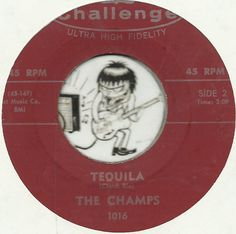 THE CHAMPS TEQUILA INSTRUMENTAL ROCKABILLY BOPPER 45 RPM RECORD NM-