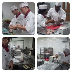 Students busy at our intermediate kitchen; preparing lunch for a 100 people.