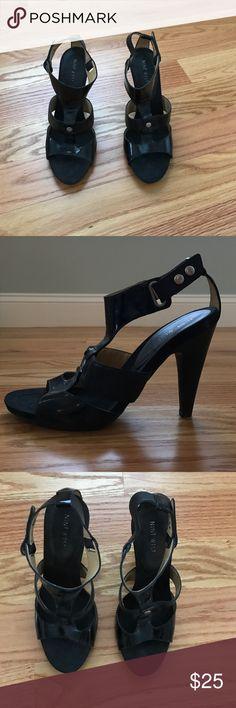 Nine West chunky sandal pump Fun! Black leather Nine West pump. Side ankle buckle. Size 8.5 M Nine West Shoes Heels