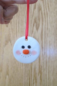 Snowman Polymer Clay Ornament Project baked and ready in 35 min. Could do craft first thing and maybe ready before party over