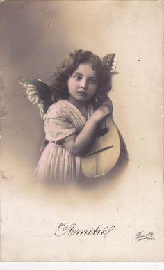 1911 Pretty Little Edwardian Girl as Cherub Original French Postcard | eBay