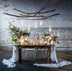 hanging candles on branches