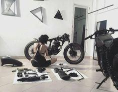 Meditation morning session by @nutsa #2wheels #motorcycle #menstoys #motorbike #instamoto #bikestagram #caferacer #caferacerxxx #caferacerporn #caferacersofinstagram #brattracker #classicracer #oldschoolchopper #classicbike #hondacaferacers #scrambler #hondacb #artstudio