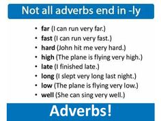Adverbs: Not all adverbs end in -ly.