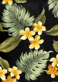 10papa Tropical Hawaiian plumeria, frangipangi flowers, apparel cotton Hawaiian vintage style fabric.  More fabrics at: BarkclothHawaii.com                                                                                                                                                                                 Más