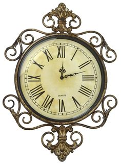 Amazon.com - Lulu Decor, Antique Roman Metal Wall Clock in Fleur De Lis Design, Perfect for Housewarming Gift. -
