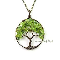 Genuine Green Peridot Crystal Glass Beaded Copper Wired Olive Tree Pendant Necklace
