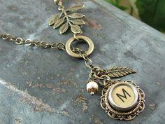 Typewriter Key Jewelry   Antique Brass Lasso or by thekeyofa