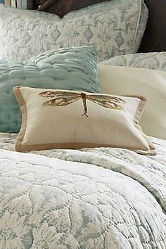 Dragonfly Pillow - Dragonfly Decorative Pillow, Ivory Dragonfly Pillow   Soft Surroundings