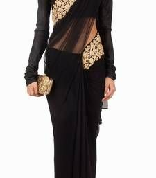 Buy black embroidered net saree with blouse party-wear-saree online