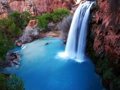 One of the most beautiful places and most photographed waterfalls in the world is Havas waterfall in the Grand Canyon. Description from thebookoftravel.com. I searched for this on bing.com/images