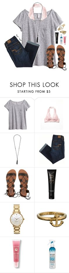 """bralettes are my favorite"" by lydia-hh ❤ liked on Polyvore featuring H&M, Free People, American Eagle Outfitters, Billabong, NARS Cosmetics, Kate Spade, Lancôme, Not Your Mother's and Huda Beauty"
