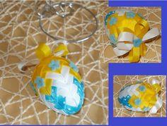 Vejce+žluto-modro-bílé+Velikonoční+dekorace-vajíčko+z+patchworku
