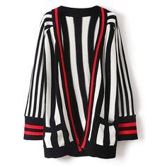 76ad69c589039 Monochrome Stripe Open Front Knit Cardigan (61 CAD) ❤ liked on Polyvore  featuring tops