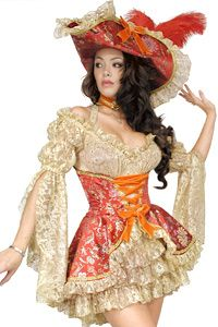Like the color of the under dress, the neckline, sleeves, and hat style.  Over corset nice as well.