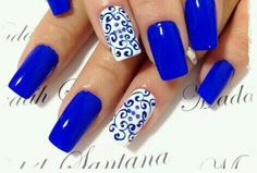 Most Gorgeous Royal Blue Nails Inspirational Design For Fall Prom And Wedding - Page 48 of 81 - Trendy Elves Fabulous Nails, Gorgeous Nails, Pretty Nails, Hot Nails, Hair And Nails, Royal Blue Nails, Bright Blue Nails, Blue And White Nails, Green Nail