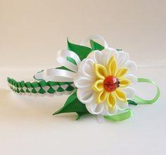 Kanzashi Fabric Flowers Headband Daisy by DesignedForGirls on Etsy, £10.00