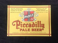 #pabstblueribbon #pabst #pbr #breweriana #cjbeez Pabst Blue Ribbon Beer Piccadilly IRTP Label PBR 1930's