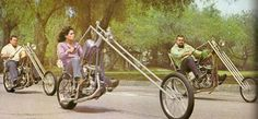 1970s Picture of 3 Choppers with Really Long Forks -- See More Raked Out Choppers at http://blog.lightningcustoms.com/extreme-rake-choppers-pics/  -- #Choppers #Chopper