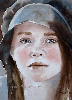 Pioneer Portrait Art Print / Portrait of young girl PRINT/ What My Eyes Have Seen II  8 x 10 Watercolor Portrait PRINT.