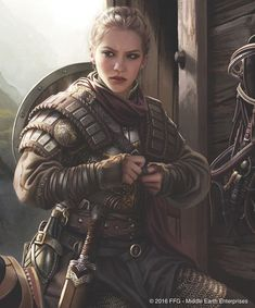 Female warrior with padded leather armour and shiled and sword. RPG character inspiration for fighters Fantasy Warrior, Fantasy Rpg, Medieval Fantasy, Fantasy Artwork, Fantasy Art Women, Woman Warrior, Fantasy Battle, Dnd Characters, Fantasy Characters