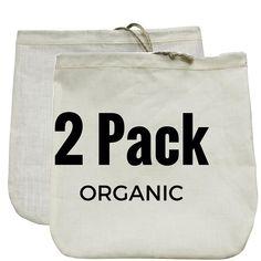 "Nut Milk Bags (Organic Hemp   Organic Cotton) 12"" x 12"""
