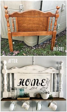 repurposed furniture 30 Most Impressive DIY Makeovers of Flea Market Finds - Check out this flip of a mug rack made from an old headboard Refurbished Furniture, Repurposed Furniture, Furniture Makeover, Painted Furniture, Vintage Furniture, Refurbished Headboard, Chair Makeover, Rustic Furniture, Diy Furniture Repurpose