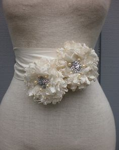Good Sash: Handmade Bridal Sash With two Unique Design Flowers by denizy03, $65.00