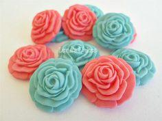 36 Sugar Edible Flowers Mint Coral Fondant Rose Cake Topper