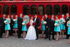 turquoise and red wedding | ... Bridal. She dressed her 'maids in bright turquoise and pops of red