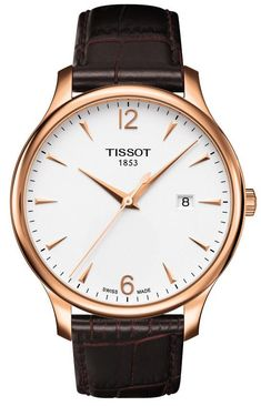 Tissot Watch, Men's Swiss Automatic Tradition Brown Leather Strap - Men's Watches - Jewelry & Watches - Macy's - mens and womens watches, mens automatic watches, cheap mens fashion watches Gents Watches, Casual Watches, Cool Watches, Watches For Men, Wrist Watches, Brown Leather Strap Watch, Mens Watches Leather, Bracelet Cuir, Silver Man
