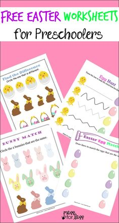 Free Easter Preschool Worksheets – these Easter printables work on a variety of preschool skills. Free Easter Preschool Worksheets – these Easter printables work on a variety of preschool skills. April Preschool, Free Preschool, Preschool Crafts, Preschool Printables, Free Easter Printables, Preschool Writing, Preschool Themes, Easter Projects, Easter Crafts For Kids