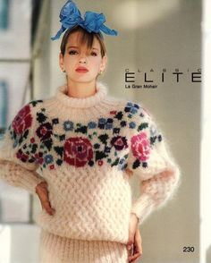Just look at this gorgeous sweater - sz Classic Elite Yarns - 230 - Floral Mohair Pullover with Lattice Stitch