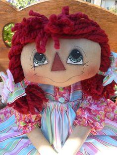 *Sweet Pigtail Annie Raggedy Ann style doll PATTERN 102.