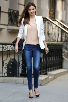 Spring/Fall: Heels + Blue Jeans + Tops + Blazers
