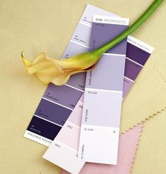 Purple Paint Swatches - maybe for L's room. Can't decide between lavender or pink, of course!