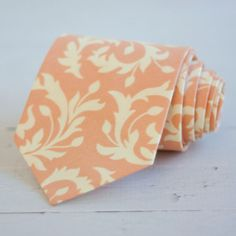 The Beau men's peach and cream swirl necktie by thebelleandthebeau, $26.00